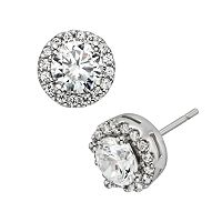 Diamonore Sterling Silver 2 ctT.W. Simulated Diamond Halo Stud Earrings
