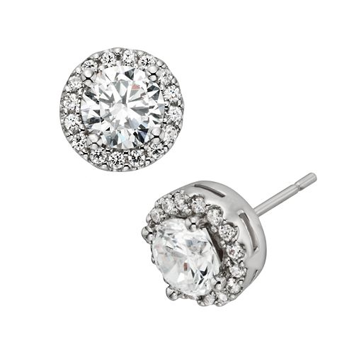 Diamonore Sterling Silver 2-ct. T.W. Simulated Diamond Halo Stud Earrings