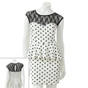 Speechless Lace Polka-Dot Peplum Dress - Juniors