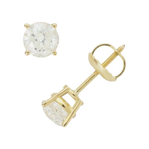 14k Gold 1-ct. T.W. Round-Cut Diamond Solitaire Earrings