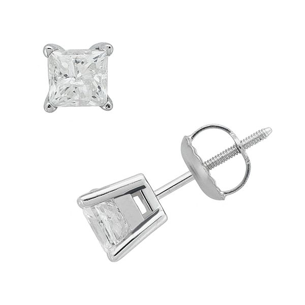 14k White Gold 1-ct. T.W. Princess-Cut Diamond Solitaire Earrings