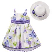 Emily West Floral Shantung Dress and Hat Set - Girls 7-12