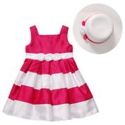 Emily West Colorblock Shantung Dress and Hat Set - Girls 7-12