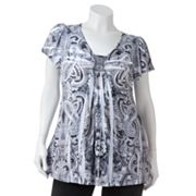 Apt. 9 Paisley Embellished Sublimation Top - Women's Plus