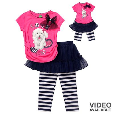 Dollie and Me Dog Ruched Top and Tutu Leggings Set - Girls 7-16