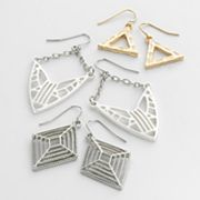 Mudd Tri-Tone Drop and Kite Earring Set