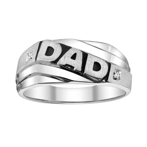 Sterling Silver Diamond Accent Dad Ring - Men