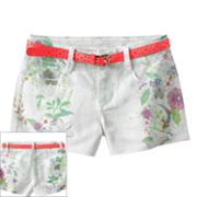 Candie's Belted Floral Sublimation Denim Shorts - Girls 7-16