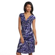 Chaps Splatter Knot-Front Empire Dress