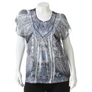 Apt. 9 Printed Embellished Sublimation Top - Women's Plus