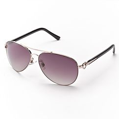 Candie's Temple Heart Aviator Sunglasses