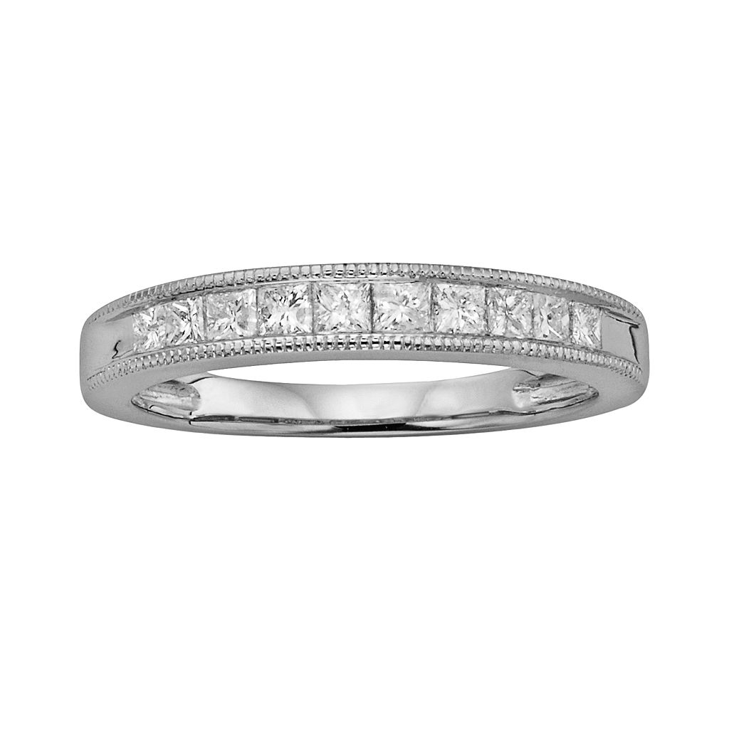 14k White Gold 1/2-ct. T.W. IGL Certified Princess-Cut Diamond Wedding Ring