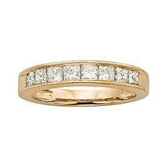 14k Gold 1-ct. T.W. IGL Certified Princess-Cut Diamond Wedding Ring