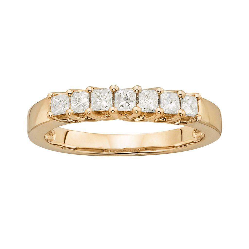 14k Gold 1/2-ct. T.W. IGL Certified Princess-Cut Diamond Wedding Ring