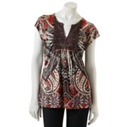 Apt. 9 Scroll Crochet Sublimation Top - Petite