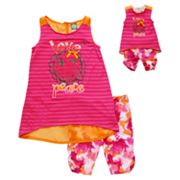 Dollie and Me Smiley Striped Tunic and Tie-Dye Bike Shorts Set - Girls 7-12