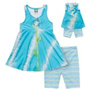 Dollie and Me Floral Tie-Dye Tunic and Striped Bike Shorts Set - Girls 7-12