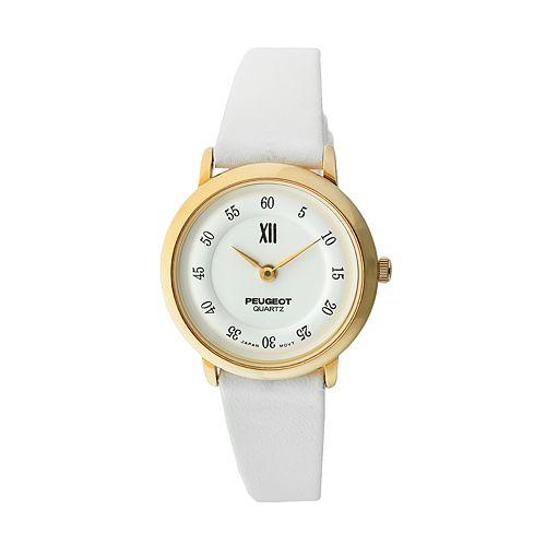 Peugeot Gold Tone Leather Watch - 380-7 - Women