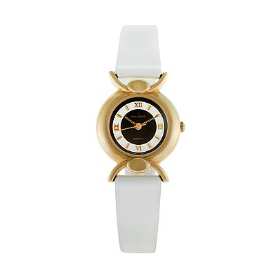 Peugeot Gold Tone Leather Watch - 380-12 - Women