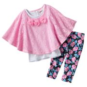 Little Lass Floral Butterfly Poncho Top Set - Baby