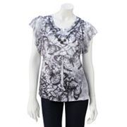 Apt. 9 Printed Embellished Sublimation Top - Petite