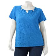 Sag Harbor Textured Embellished Top - Women's Plus