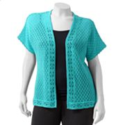 Sag Harbor Scalloped Crochet Cardigan - Women's Plus