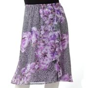 Sag Harbor Floral Chiffon Pull-On Skirt - Women's Plus