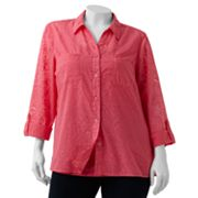 Sag Harbor Floral Burnout Shirt Set - Women's Plus