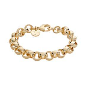 Elegante 18k Gold Over Brass Cubic Zirconia Rolo Chain Bracelet