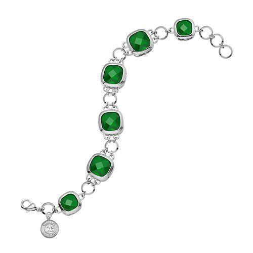Oakland Athletics Legend Silver Tone Green Glass Logo Charm Bracelet