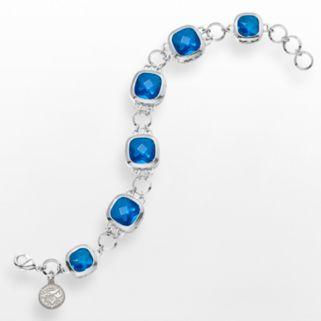 LogoArt Toronto Blue Jays Legend Silver Tone Blue Glass Logo Charm Bracelet