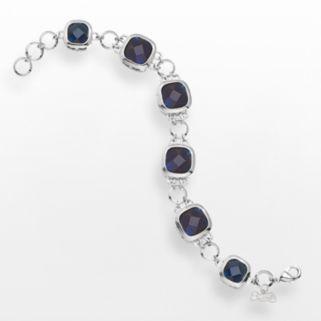 LogoArt Atlanta Braves Legend Silver Tone Navy Glass Logo Charm Bracelet