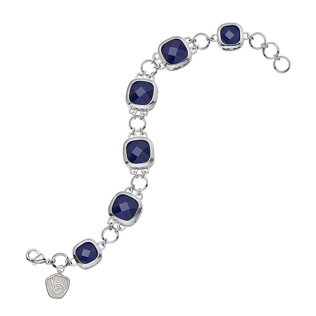 LogoArt Milwaukee Brewers Legend Silver Tone Navy Glass Logo Charm Bracelet