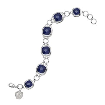 LogoArt Milwaukee Brewers Legend Silver Tone Navy Glass Logo Charm Bracelet