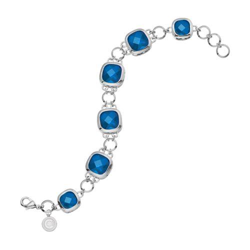 LogoArt Chicago Cubs Legend Silver Tone Blue Glass Logo Charm Bracelet