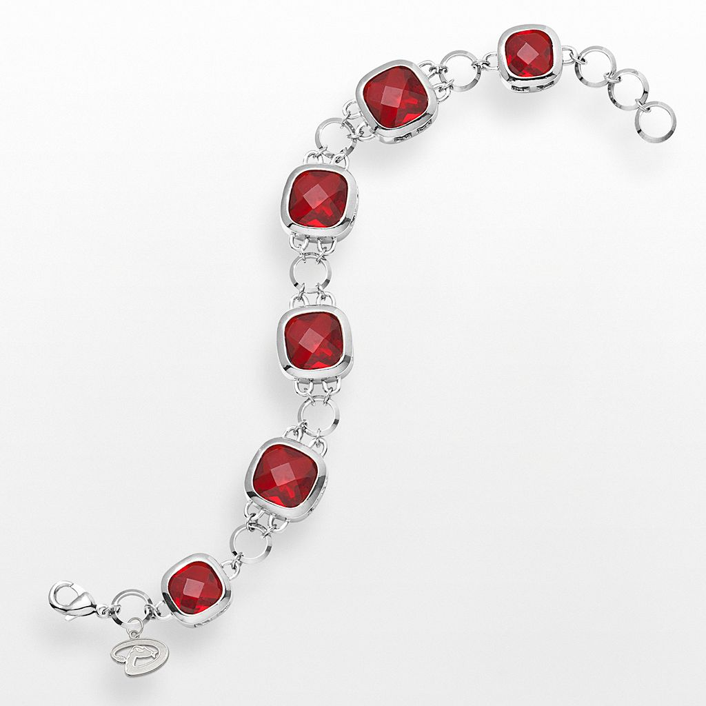LogoArt Arizona Diamondbacks Legend Silver Tone Red Glass Logo Charm Bracelet