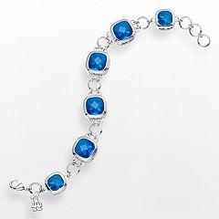 LogoArt Los Angeles Dodgers Legend Silver Tone Dodger Blue Glass Logo Charm Bracelet