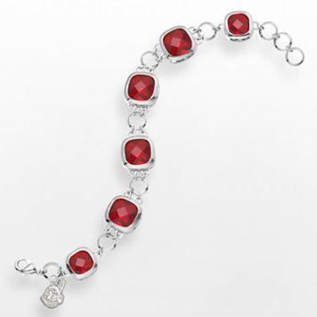 LogoArt Cleveland Indians Legend Silver Tone Red Glass Logo Charm Bracelet