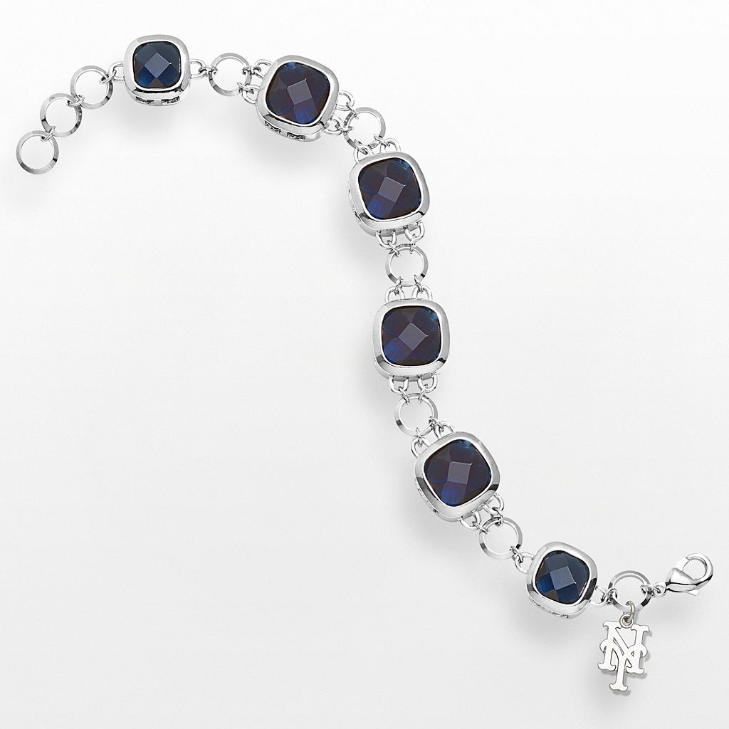 LogoArt New York Mets Legend Silver Tone Blue Glass Logo Charm Bracelet