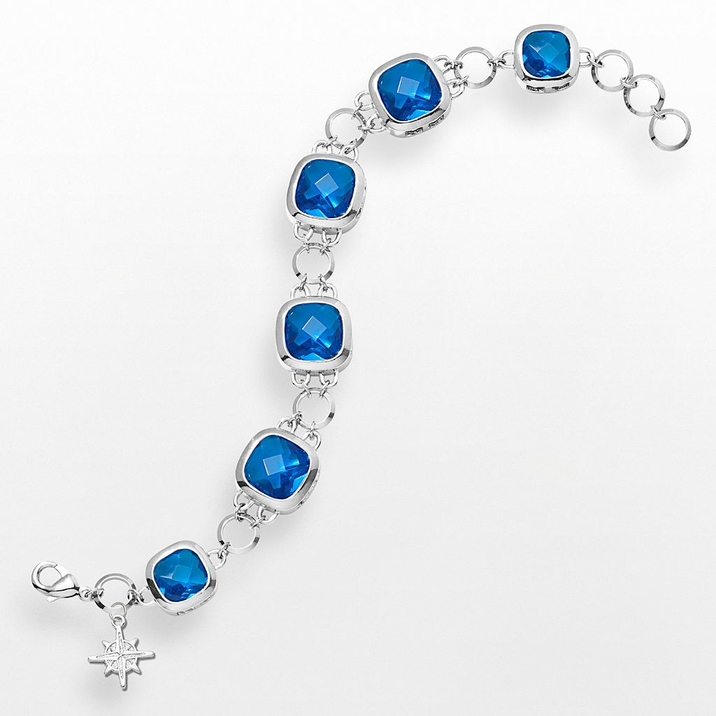 LogoArt Seattle Mariners Legend Silver Tone Navy Glass Logo Charm Bracelet