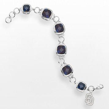 LogoArt San Diego Padres Legend Silver Tone Navy Glass Logo Charm Bracelet