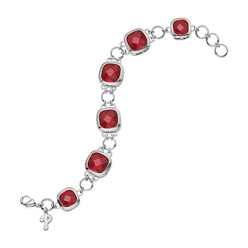LogoArt Philadelphia Phillies Legend Silver Tone Red Glass Logo Charm Bracelet
