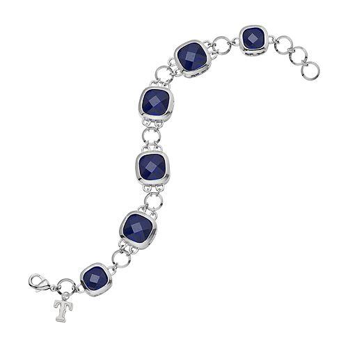 LogoArt Texas Rangers Legend Silver Tone Blue Glass Logo Charm Bracelet