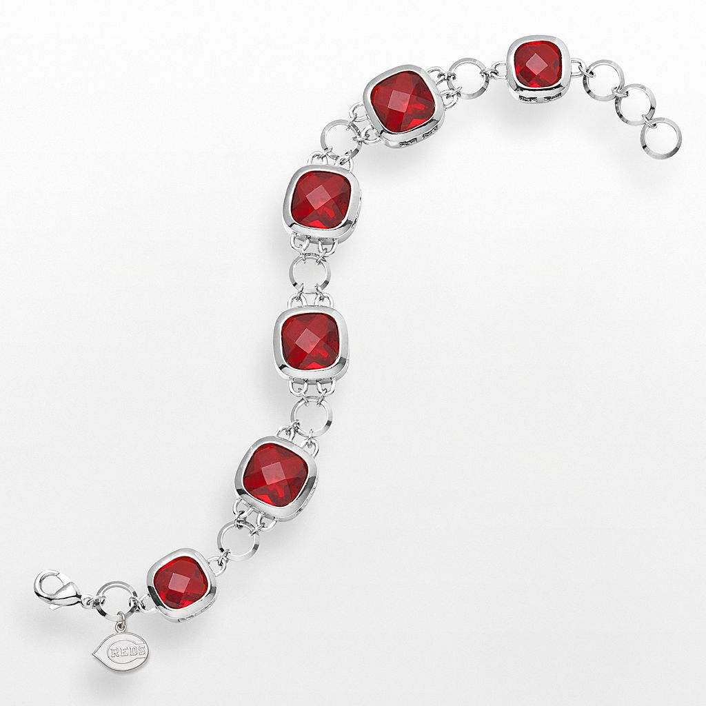 LogoArt Cincinnati Reds Legend Silver Tone Red Glass Logo Charm Bracelet