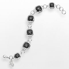 LogoArt Chicago White Sox Legend Silver Tone Black Glass Logo Charm Bracelet