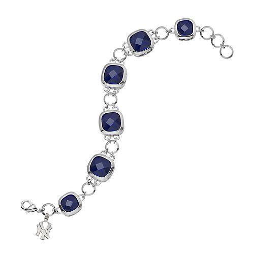 LogoArt New York Yankees Legend Silver Tone Navy Glass Logo Charm Bracelet