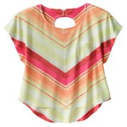 Mudd Striped Chevron Open-Back Top - Girls Plus