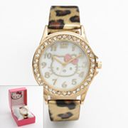Hello Kitty Gold Tone Simulated Crystal and Mother-of-Pearl Leopard Watch - Women
