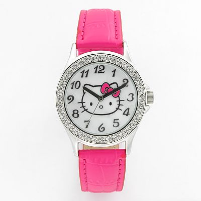 Hello Kitty Silver Tone Simulated Crystal and Mother-of-Pearl Watch - Women